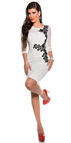 KouCla Etuikleid Mit Netz und Stickerei Size S 36 White Stretch Abendkleid Partykleid - 8