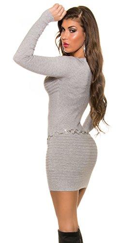 KouCla Feinstrick Minikleid Mit Strass One Size Grau - 2
