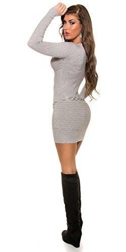 KouCla Feinstrick Minikleid Mit Strass One Size Grau - 4