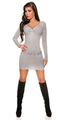KouCla Feinstrick Minikleid Mit Strass One Size Grau - 5