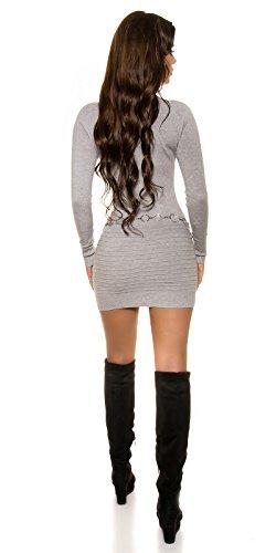 KouCla Feinstrick Minikleid Mit Strass One Size Grau - 6