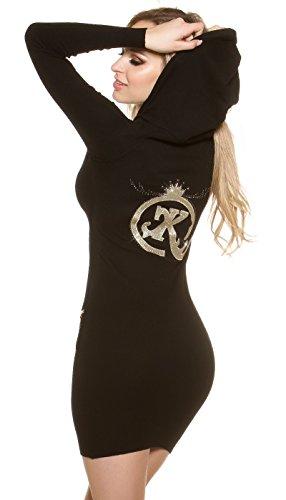 KouCla Feinstrick Minikleid Pullover mit Kapuze Hoodie Langarm Kapuzenkleid Einheitsgröße - 1