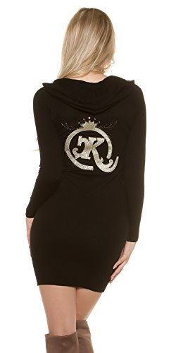KouCla Feinstrick Minikleid Pullover mit Kapuze Hoodie Langarm Kapuzenkleid Einheitsgröße - 3