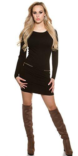 KouCla Feinstrick Minikleid Pullover mit Kapuze Hoodie Langarm Kapuzenkleid Einheitsgröße - 5