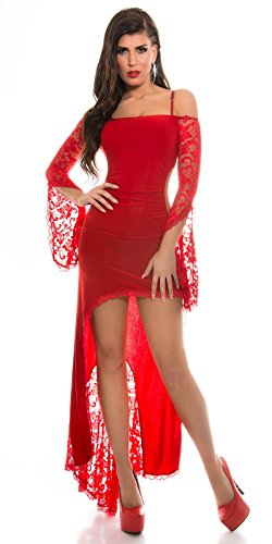 KouCla HighLow Kleid mit Carmenausschnitt und Spitze - Schulterfreies Abendkleid in versch. Farben (K1081-1) (2 Rot) -