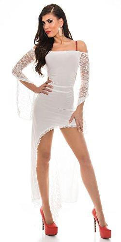 KouCla HighLow Kleid mit Carmenausschnitt und Spitze - Schulterfreies Abendkleid in versch. Farben (K1081-1) (3 Weiss) - 1