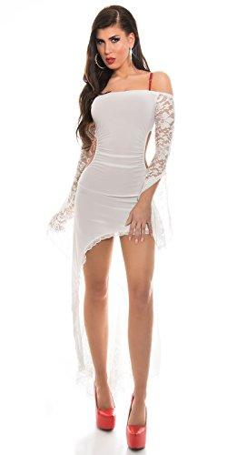 KouCla HighLow Kleid mit Carmenausschnitt und Spitze - Schulterfreies Abendkleid in versch. Farben (K1081-1) (3 Weiss) - 2