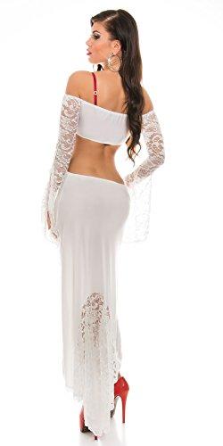 KouCla HighLow Kleid mit Carmenausschnitt und Spitze - Schulterfreies Abendkleid in versch. Farben (K1081-1) (3 Weiss) - 3