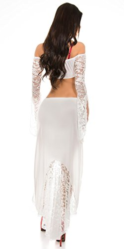 KouCla HighLow Kleid mit Carmenausschnitt und Spitze - Schulterfreies Abendkleid in versch. Farben (K1081-1) (3 Weiss) - 6