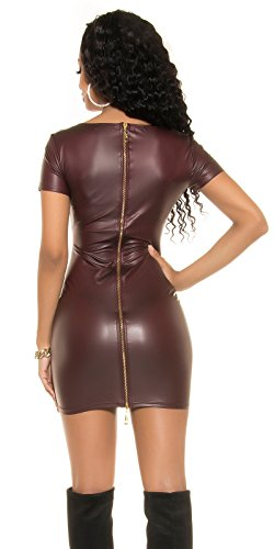 Koucla Kleid Wetlook Lederlook Minikleid mit 2Way Zip 34/36/38 (Bordeaux) - 2
