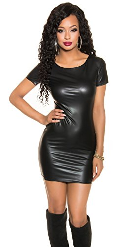 Koucla Kleid Wetlook Lederlook Minikleid mit 2Way Zip 34/36/38 (Schwarz) - 1