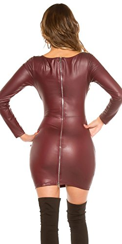 Koucla Kleid Wetlook Lederlook Minikleid mit Cut Outs 34/36/38 (Bordeaux) - 2