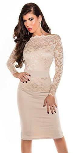 KouCla Midi-Dress mit Spitze Cocktailkleid (10=36, Beige) - 1