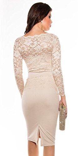 KouCla Midi-Dress mit Spitze Cocktailkleid (10=36, Beige) - 2