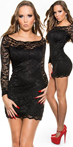 KouCla Minikleid aus Spitze mit Carmenausschnitt schwarz Size S 34 36 - 1