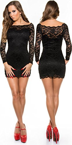 KouCla Minikleid aus Spitze mit Carmenausschnitt schwarz Size S 34 36 - 4