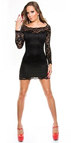 KouCla Minikleid aus Spitze mit Carmenausschnitt schwarz Size S 34 36 - 6