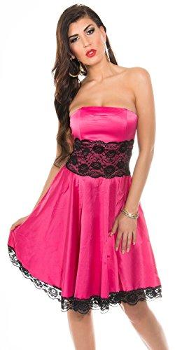 KouCla Petticoat Bandeaukleid mit Spitze - Rockabilly Kleid Gr. 34 - 42 und versch. Farben (K9195) (10 (36-38), 2 Pink) - 1