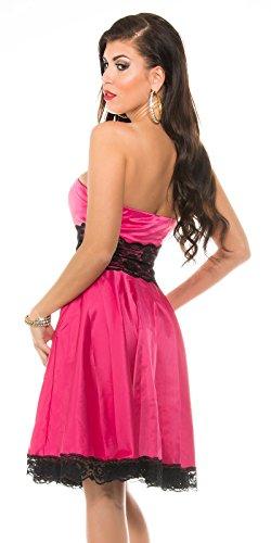 KouCla Petticoat Bandeaukleid mit Spitze - Rockabilly Kleid Gr. 34 - 42 und versch. Farben (K9195) (10 (36-38), 2 Pink) - 2