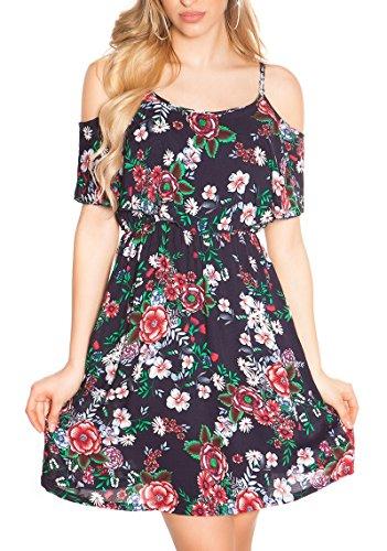 Koucla Sommerliches Coachella-Minikleid im Cold-Shoulder-Style mit Flower-Print XS/S - 7