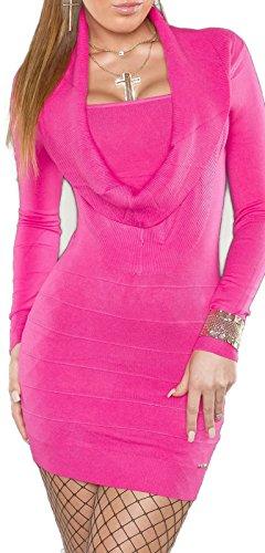 KouCla Strickkleid mit Wasserfallausschnitt (Pink) Einheits-Größe 34/36/38 isf8125 - 1