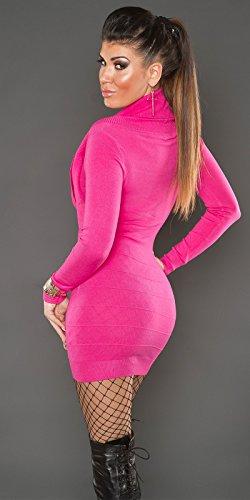 KouCla Strickkleid mit Wasserfallausschnitt (Pink) Einheits-Größe 34/36/38 isf8125 - 2