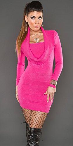KouCla Strickkleid mit Wasserfallausschnitt (Pink) Einheits-Größe 34/36/38 isf8125 - 3