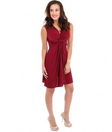 KRISP Damen Kleid Mini Vorn Geknotet Gerafft Partykleid_(9354_berry_10) - 2