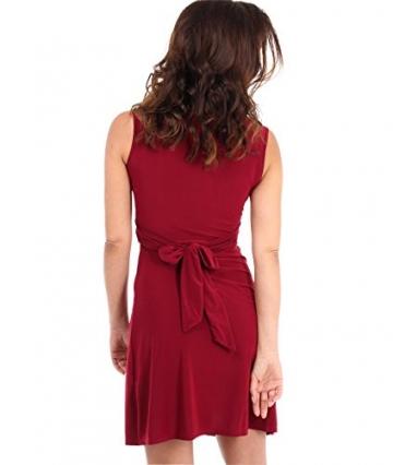 KRISP Damen Kleid Mini Vorn Geknotet Gerafft Partykleid_(9354_berry_10) - 3