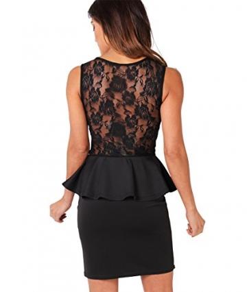 KRISP Damen Kleid Minikleid mit Schößchen_(3127-BLK-10) -