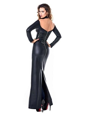 Kunstleder Wetlook Lederkleid Schwarz Langes Designer Abendkleid Kunstlederkleid, Farbe:Schwarz, Größe:S - 4