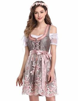 KUULEE Damen Dirndl 3tlg.Set - Mini Trachtenkleid für Oktoberfest - Originelles Design Stickerei Dots Karo und Blumendruck (Spitze-Rosa, 36) - 1