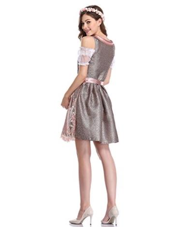 KUULEE Damen Dirndl 3tlg.Set - Mini Trachtenkleid für Oktoberfest - Originelles Design Stickerei Dots Karo und Blumendruck (Spitze-Rosa, 36) - 6