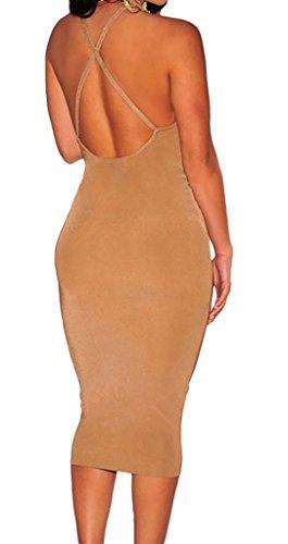 La vogue Bodycon Clubwear Etuikleid Strech Rückenfrei V-Ausschnitt Khaki - 2