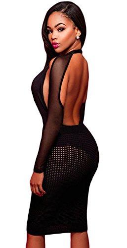 La vogue Tief V Dessous Clubwear Bodycon Reizvolles Negligee Neckholder Size2(M) -