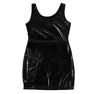 LAEMILIA Damen Wetlook Minikleid Clubwear Schwarz Stretch Party Dress Lack Leder (36, Schwarz) -