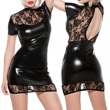 LAEMILIA Damen Wetlook Minikleid Spitze Clubwear Schwarz Lackleder Party Dress Corsage (Brustumfang: 90-100cm, Schwarz) -