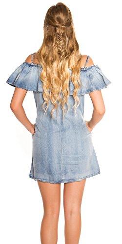 Lässiges Off Shoulder-Minikleid im Jeans-Look mit Volant-Borte M/L - 3