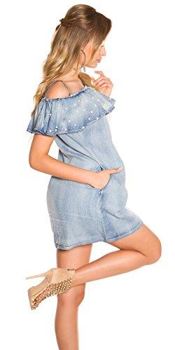 Lässiges Off Shoulder-Minikleid im Jeans-Look mit Volant-Borte M/L - 4