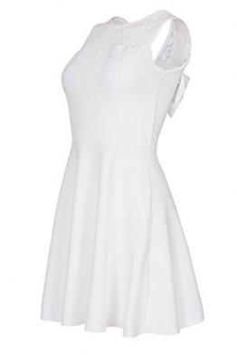 Laeticia Dreams Damen Kleid Mini mit Spitze und Schleife S M L, Farbe:Weiss;Größe:40 -