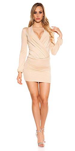 Lang Arm Minikleid mit Tiefem V-Ausschnitt Wickeloptik mit Gürtel S/M - 5