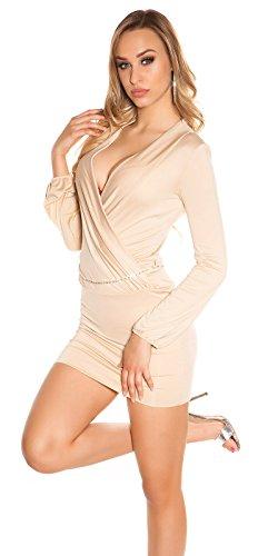 Lang Arm Minikleid mit Tiefem V-Ausschnitt Wickeloptik mit Gürtel S/M - 7