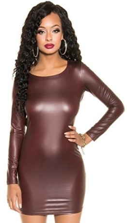 Langarm-Minikleid Kleid * rückenfrei oder 2-Wege Reißverschluß * schwarz bordeaux Lederoptik Koucla Wetlook Clubwear (900632 bordeaux one size) -