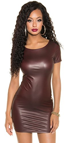 Langarm-Minikleid Kleid * rückenfrei oder 2-Wege Reißverschluß * schwarz bordeaux Lederoptik Koucla Wetlook Clubwear (900633 bordeaux one size) -