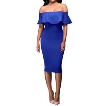 Lange Kleid Damen, Mode Frauen Schulterfrei Kurzarm Bodycon Abendkleid Hochzeit Outdoor Kleid Sunday (Blau, S) - 2