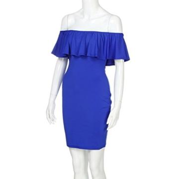 Lange Kleid Damen, Mode Frauen Schulterfrei Kurzarm Bodycon Abendkleid Hochzeit Outdoor Kleid Sunday (Blau, S) - 3