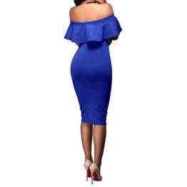 Lange Kleid Damen, Mode Frauen Schulterfrei Kurzarm Bodycon Abendkleid Hochzeit Outdoor Kleid Sunday (Blau, S) - 1