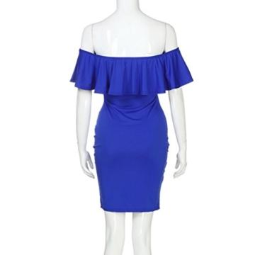 Lange Kleid Damen, Mode Frauen Schulterfrei Kurzarm Bodycon Abendkleid Hochzeit Outdoor Kleid Sunday (Blau, S) - 4