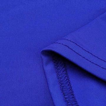 Lange Kleid Damen, Mode Frauen Schulterfrei Kurzarm Bodycon Abendkleid Hochzeit Outdoor Kleid Sunday (Blau, S) - 5