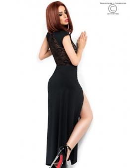 langes schwarzes Kleid mit Schlitzen